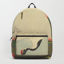 Crane and Cherry Blossom Ukiyoe Landscape Backpack