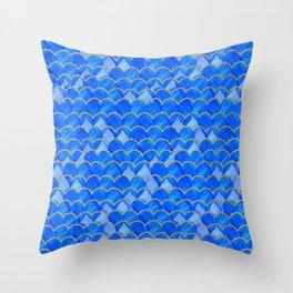 Blue, White & Gold Mermaid Throw Pillow