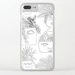 Illustrated Plant Faces in White Clear iPhone Case