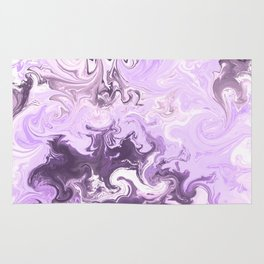 Abstract modern lavender burgundy watercolor marble pattern Rug