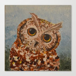 Owlet by palette knife Canvas Print