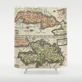 Vintage Map Of The Caribbean Islands 1630 Shower Curtain