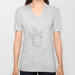 Minimal Line Art Woman with Magnolia Unisex V-Neck