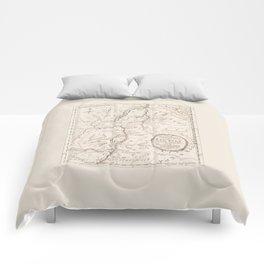 Vintage British Map of Lake George Area Comforters