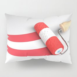 Roller paint brush giving to a white surface the colors of the flag of Austria - 3D rendering illust Pillow Sham