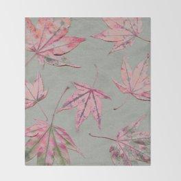 Japanese maple leaves - apricot on light khaki green Throw Blanket
