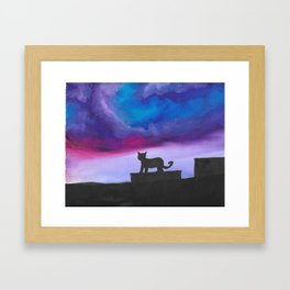 Black Cat and Bright Night Sky Framed Art Print