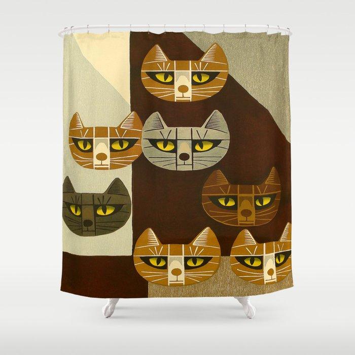 Cat Pattern Japanese, Cat, Cubism, Woodblock Print, Cherry Blossom, Midcentury, Modern Shower Curtain