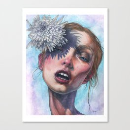 Katty and Flower watercolor Canvas Print