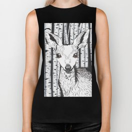 Ink and watercolor black and white doe/deer in the forest Biker Tank