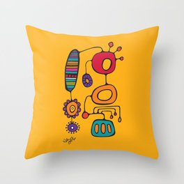 Feather Flower Chime in Color Throw Pillow