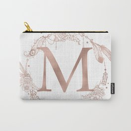 Letter M Rose Gold Pink Initial Monogram Carry-All Pouch