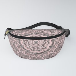 Pink lace mandala on gray Marble Fanny Pack