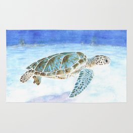 Sea turtle underwater Rug