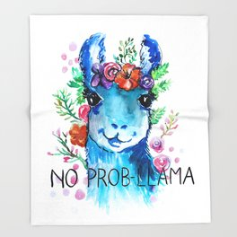 No Prob Llama Throw Blanket