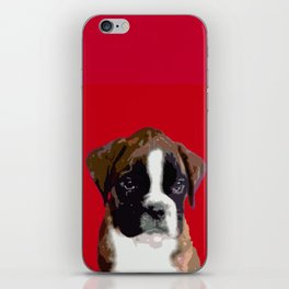 Boxer Puppy in Red iPhone Skin