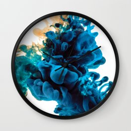 Blue & Yellow Ink in Water Wall Clock