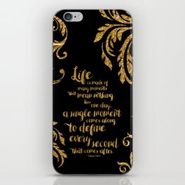 An Ember In The Ashes Quote Design in Gold Foil iPhone Skin