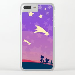 Starry sunset seen by cats Clear iPhone Case