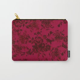 Vintage black gray red bohemian floral pattern Carry-All Pouch