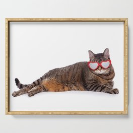 Big Tabby Cat in Heart Glasses Serving Tray