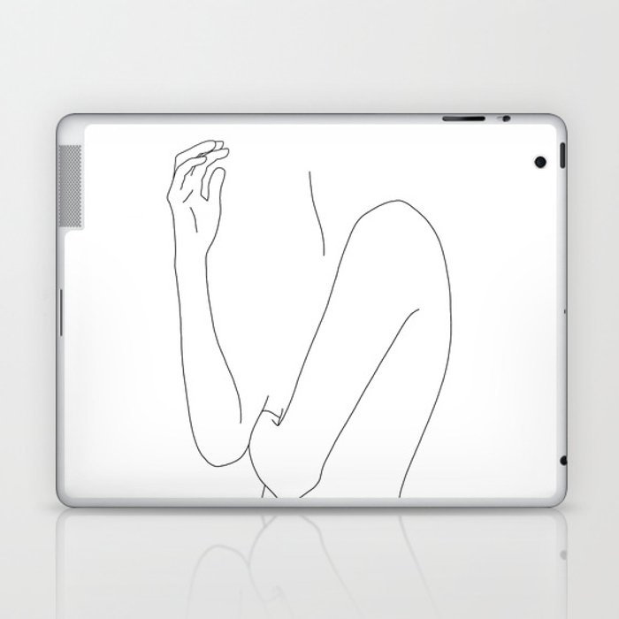 Figure line drawing illustration - Dorit Laptop & iPad Skin