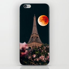 Blood Moon Over Paris France and the Eiffel Tower and Pink Flowers iPhone Skin