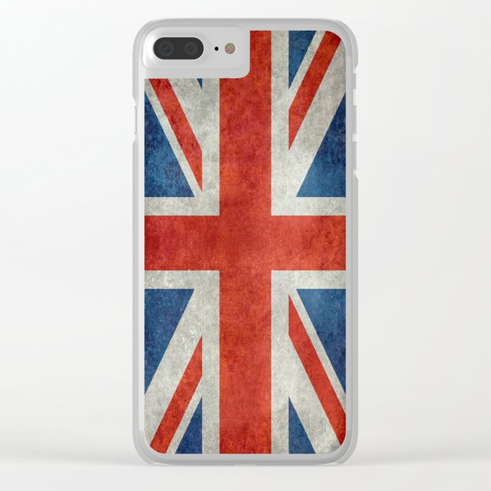 British flag of the UK, retro style Clear iPhone Case