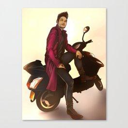 Magnus on a scoot Canvas Print