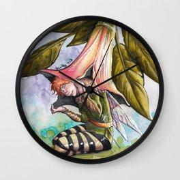 Fairy hiding under angel trumpet Wall Clock