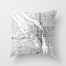 Portland Map White Throw Pillow