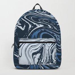 Navy Blue Liquid Marble Backpack
