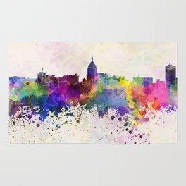 Fresno skyline in watercolor background Rug
