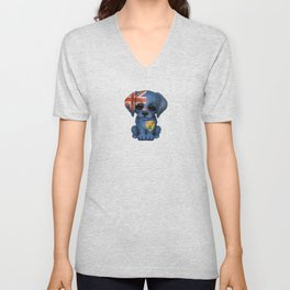 Cute Puppy Dog with flag of Turks and Caicos Unisex V-Neck