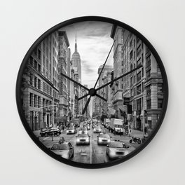 NEW YORK CITY 5th Avenue Traffic | Monochrome Wall Clock