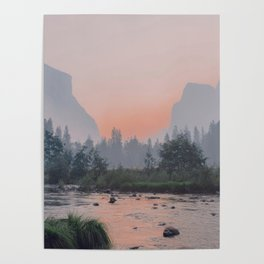 Yosemite Valley Sunrise Pretty Pink Poster