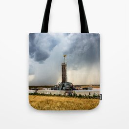 Nevermind the Weather - Oil Rig and Passing Storm in Oklahoma Tote Bag
