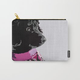 Black Standard Poodle in Grey and Pink Carry-All Pouch