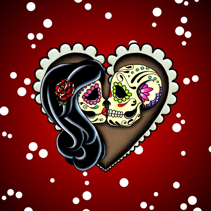 Ashes - Day of the Dead Couple - Kissing Sugar Skull Lovers Duvet Cover
