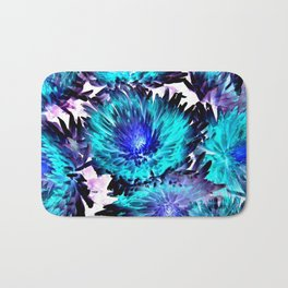 Turquoise Purple Abstract Flowers Bath Mat