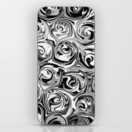 Onyx Black and White Paint Swirls iPhone Skin