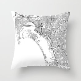 San Diego White Map Throw Pillow