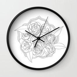 Line Flowers Wall Clock