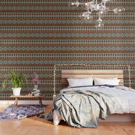 Mudcloth Style 2 in Brown and Teal Wallpaper