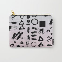 Blush pink gray black paint brushstrokes shapes gradient Carry-All Pouch