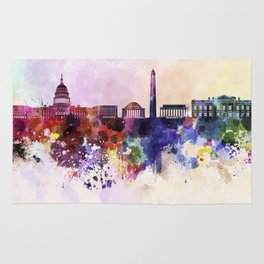 Washington DC skyline in watercolor background  Rug