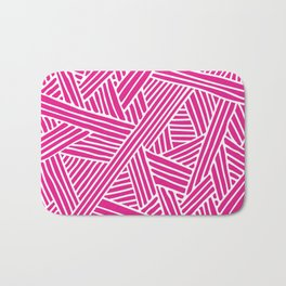 Abstract pink & white Lines and Triangles Pattern - Mix and Match with Simplicity of Life Bath Mat
