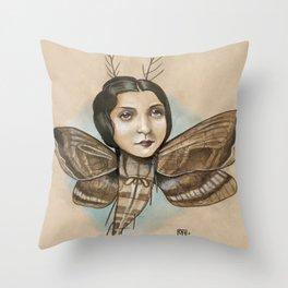 MOTH LADY Throw Pillow