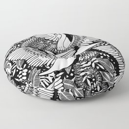 Stylish Swans in Monochrome Black and White Floor Pillow