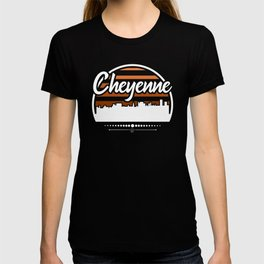 Retro Cheyenne Wyoming Sunset Skyline T-shirt